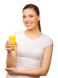 Young girl with orange juice Stock Photos
