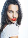 Young girl with orange lips Stock Image