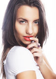 Young girl with orange lips Stock Photos
