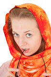Young girl with orange shawl. Young girl with a  orange shawl and sunglasses Royalty Free Stock Photo