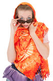 Young girl with orange shawl. Young girl with a  orange shawl and sunglasses Royalty Free Stock Photos