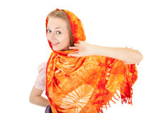 Young girl with orange shawl Royalty Free Stock Photos