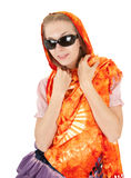 Young girl with orange shawl Royalty Free Stock Photo