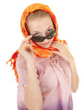 Young girl with orange shawl Royalty Free Stock Image