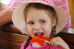 Young girl outdoors eating lollipop Stock Photography