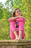 Young Girl Outdoors Thinking stock images