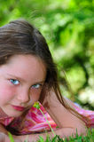 Young girl outside in summer Stock Image