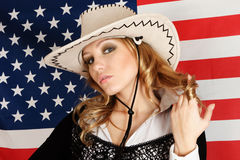 Young girl over american flag Royalty Free Stock Image