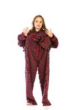 Young girl in over sized pajamas Stock Images