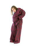 Young girl in over sized pajamas Royalty Free Stock Photography