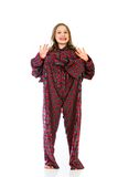 Young girl in over sized pajamas Royalty Free Stock Images