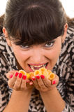 Young girl overeating junk food Royalty Free Stock Photo