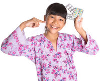 Young Girl And Pack Of Medicine Pills XI Royalty Free Stock Image