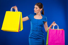 Young girl with packages Stock Photography