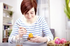 Young girl paint eggs for easter Royalty Free Stock Photo