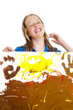 Young girl with painting Stock Photography