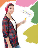 Young girl painting Royalty Free Stock Photos