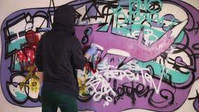 Young girl painting graffiti fox stock video