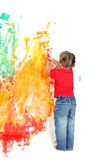 Young girl painting over white Stock Photography