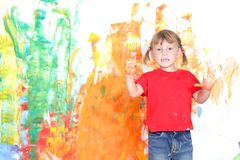 Young girl painting over white Royalty Free Stock Photography