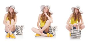 Young girl  with panama and handbag in fashion concepts isolated Stock Photography