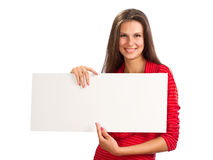 A young girl with paper in hand Stock Image