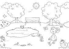 Coloring Young girl in the park stock illustration