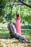 Young girl in a park royalty free stock photo