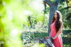 Young girl in a park. Pretty young girl in a pink dress with long hair posing in the park near the tree, forest fairy royalty free stock photography