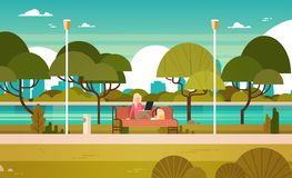 Young Girl In Park Working On Laptop Computer Outdoors Sitting On Bench. Flat Vector Illustration Stock Photo
