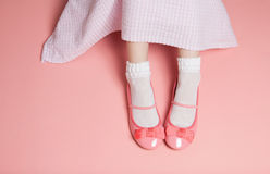 Young girl pastel pink outfit from above Stock Image