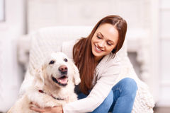 Young girl patting her pet dog. Look who is back. Attractive young lady is grinning broadly while patting and caressing her cute pet dog Royalty Free Stock Photography