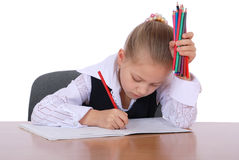 Young girl with pencil ready to learn Royalty Free Stock Photos