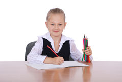 Young girl with pencil ready to learn Stock Photo
