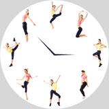 Young girl with perfect sports figure in the circle watch. Sport concept - fitness time. Stock Images