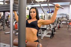 A young girl performing weight lifting in the Gym Royalty Free Stock Photo
