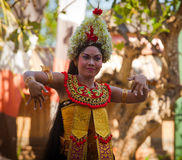 Young girl performs a Balinese dance Barong Royalty Free Stock Photography