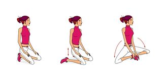 Young girl performs exercises for stretching muscles, developing breathing and flexibility from sitting, lying and standing. Raster illustration. Isolated on royalty free illustration