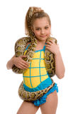 Young girl with pet python Royalty Free Stock Image