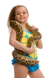 Young girl with pet python, isolated on white Stock Image