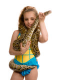 Young girl with pet snake Stock Image