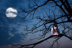 Young girl with phone on a branch, moon on background Royalty Free Stock Photography