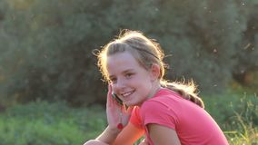 Young girl on the phone,cellural,mobile phon stock footage