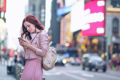 Traveling girl in Manhattan Stock Photo
