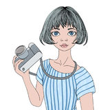 Young girl with photo camera. Vector portrait illustration, isolated on white background. Royalty Free Stock Photography
