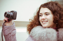 Young girl photographer Royalty Free Stock Photography