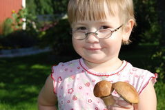 Young girl picking mushrooms Royalty Free Stock Images