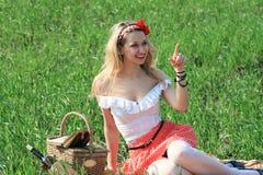 Young girl picnic Royalty Free Stock Photo