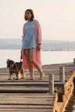 Young girl on pier Stock Photos