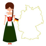 Young girl with pigtail in traditional bavarian Stock Photo